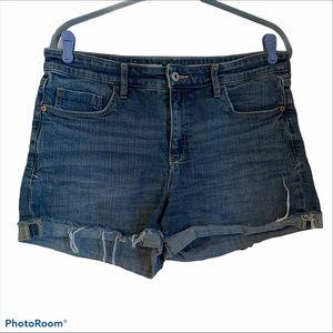 Pilcro letterpress slim boyfriend 31 denim shorts
